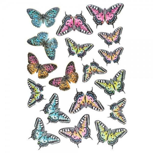 3-D Relief-Sticker, Blumen & Schmetterlinge 3, 21cm x 30cm, verschiedene Größen, selbstklebend