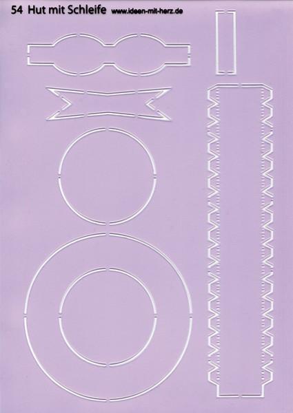 """Design-Schablone Nr. 54 """"Hut mit Schleife"""", DIN A4"""