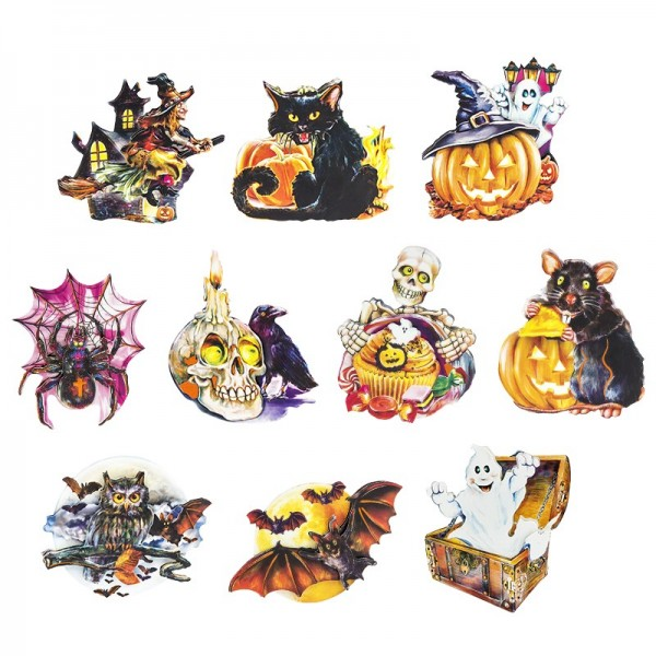 3-D Motive, Halloween, 7-11cm, 10 Motive