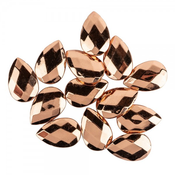 Perlen, Tropfen, facettiert, 2,7cm x 1,8cm x 0,7cm, kupfer, 13 Stück