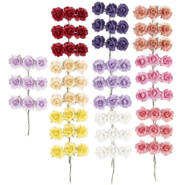 Deko-Blüten, Rosen, Ø 2,5cm, verschiedene Farben, 90 Stück