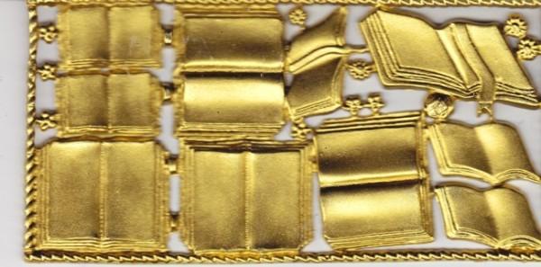 Wachsornamente-Platte Bücher, 16 x 8 cm, gold