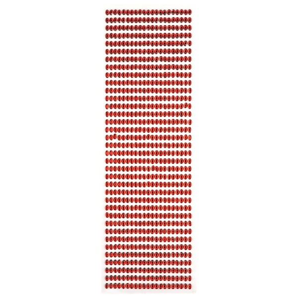 Glitzerstein-Bordüren, selbstklebend, oval, 6x4mm, rot