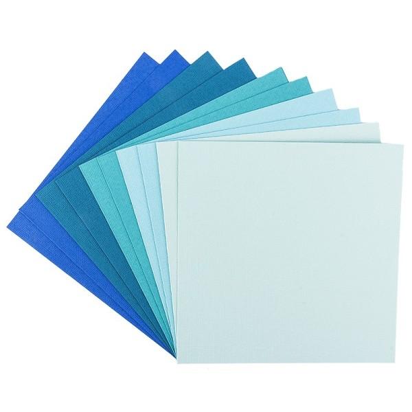 """Grußkarten """"Anna"""" in Leinen-Optik, 16x16cm, 5 Farben, Mint-/Blautöne, inkl. Umschläge, 10 Stück"""