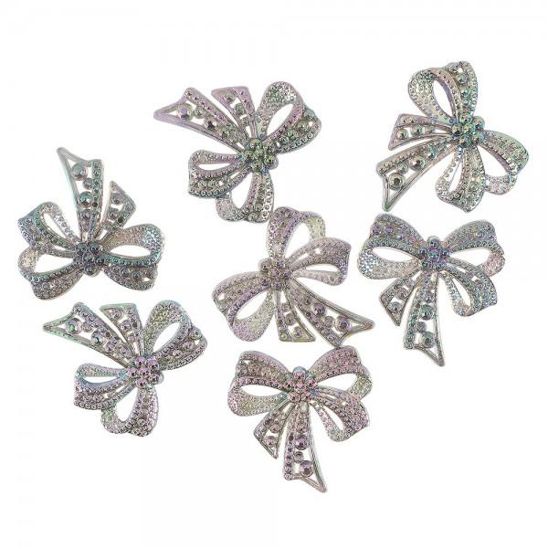 Kristallkunst-Schmucksteine, Schleife, 4,5cm x 4,5cm, transparent, irisierend, multicolor, 7 Stück
