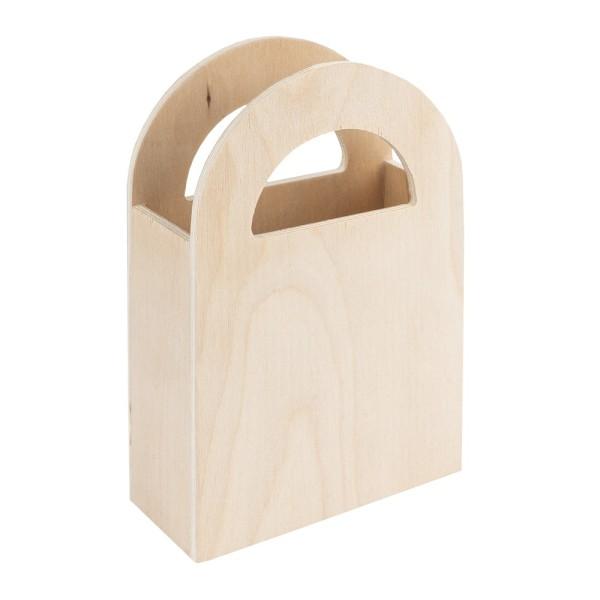 Tasche, Holz, 9,5cm x 4cm x 13,4cm, zum Aufstellen