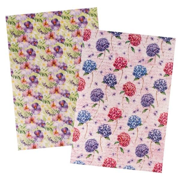 Reispapiere, Blüten 21, DIN A4, 30g/m², 2 verschiedene Designs