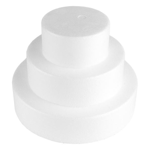 Styropor-Torte, 3 Styropor-Podeste, Ø20 cm, Ø15 cm, Ø10 cm