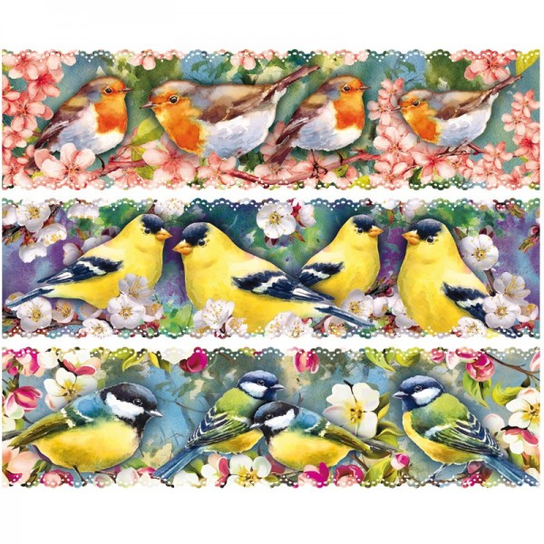 """Zauberfolien """"Vögel auf Zweigen"""", Schrumpffolien für Ø10cm, 9 cm hoch, 6 Stück"""
