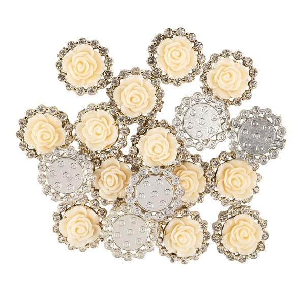 Premium-Schmucksteine, Rosenblüte 1, Ø 2cm, hellgold, mit Blüte in Creme & Glaskristallen, 17 Stück