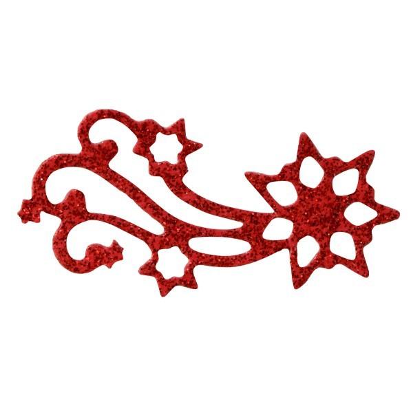 Glitzer-Ornamente, 25er Set, 3x6cm, Stern 2, rot