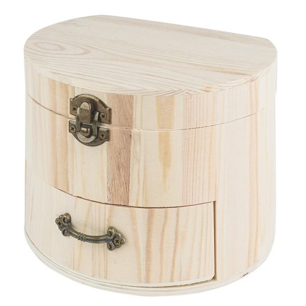 Schmuckkästchen, Holz, 16,5cm x 13,5cm x 12,5cm, mit Schublade und verschließbarem Deckel