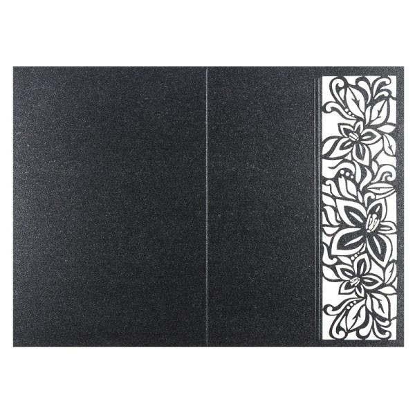Laser-Grußkarten, Lilie, B6, anthrazit, inkl. Einleger & Umschläge, 5 Stück