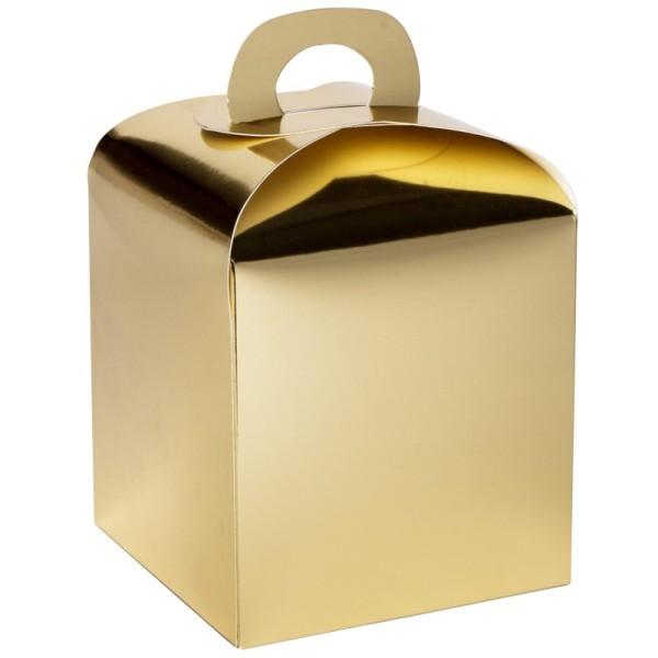 Faltboxen, geklebt, 10 cm x 10 cm x 10 cm, Spiegelkarton, gold, 10 Stück