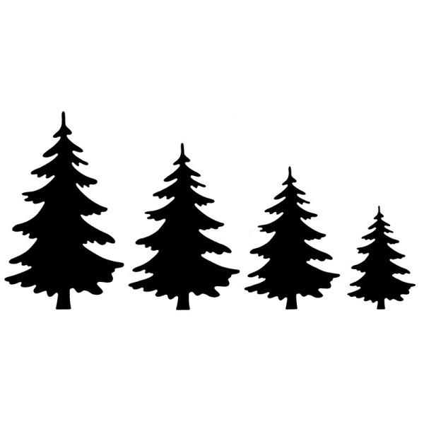 Stanzschablonen, Tannenbäume 2, 4 Stück