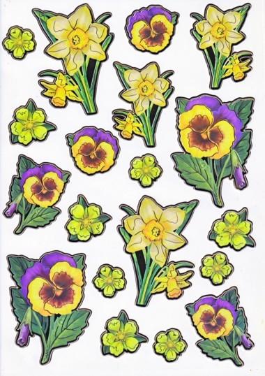 Ultra Gloss Sticker Bogen, Stiefmütterchen & Narzissen