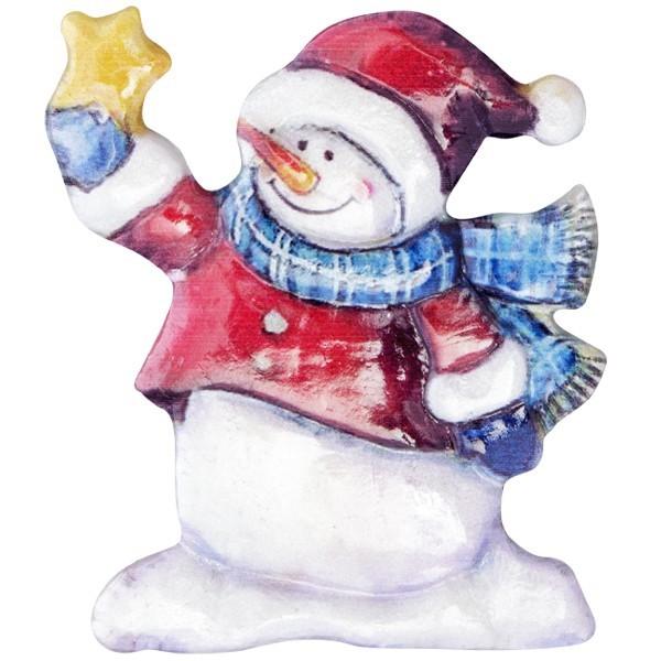 Wachsornament Lustige Schneemänner 10, farbig, geprägt, 6,5-7,5cm