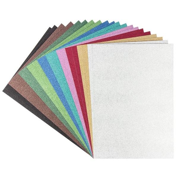 Glitter-Karton Diamantiert, DIN A4, 10 verschiedene Farben, 20 Stück
