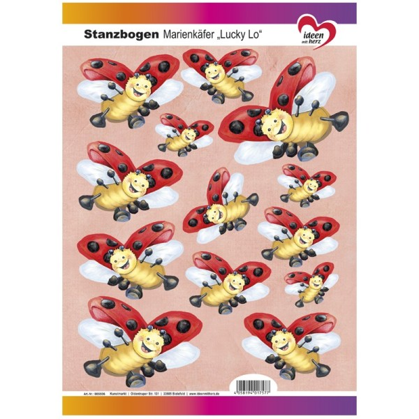"""Stanzbogen, Marienkäfer """"Lucky Lo"""", DIN A4"""