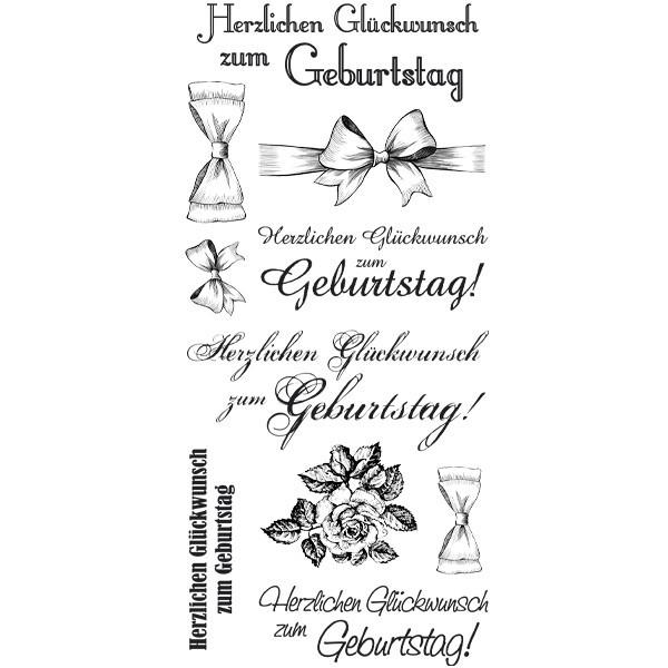 Feinkontur-Stempel, einzelne Motive auf Trägerfolie, Zum Geburtstag
