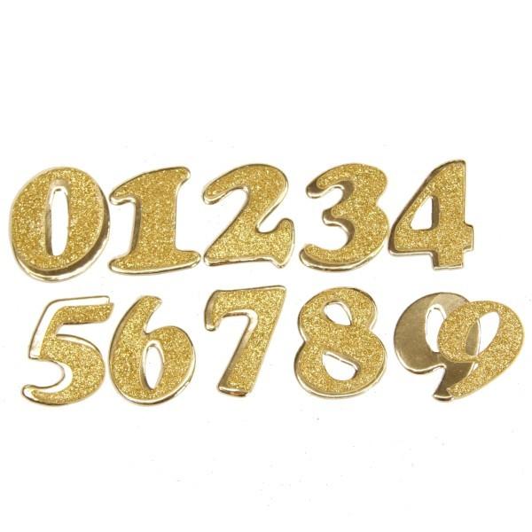 Ziffern 0 bis 9, Gold mit Glimmer, 3-D Effekt