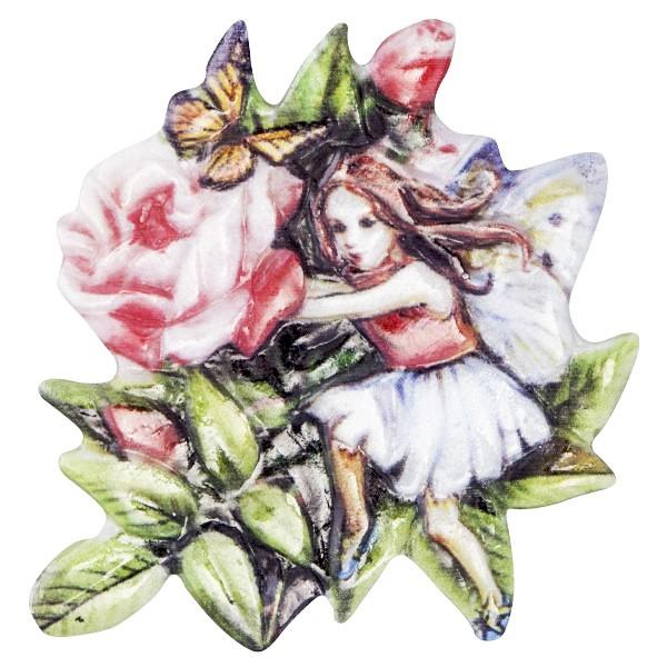 Wachsornament Elfen mit Blüten 7, farbig, geprägt, 7cm