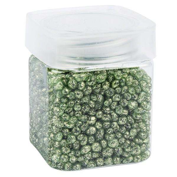Glitzernuggets aus Glas, hellgrün, 2mm bis 7mm, 260g