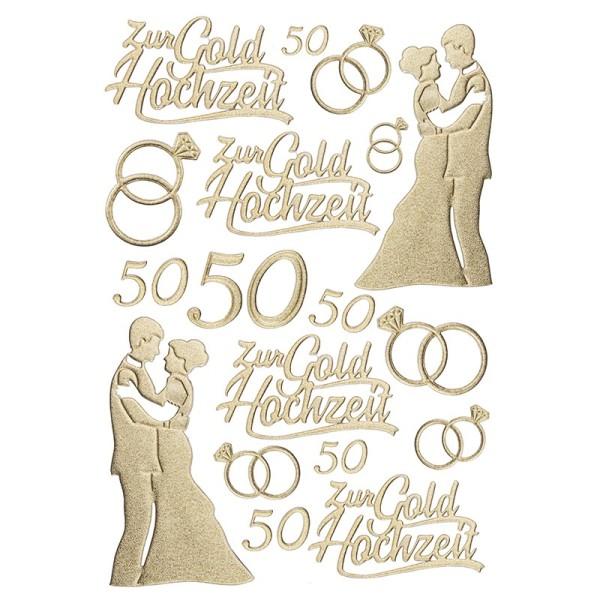 3-D Sticker, Deluxe Zur Goldhochzeit, selbstklebend, gold