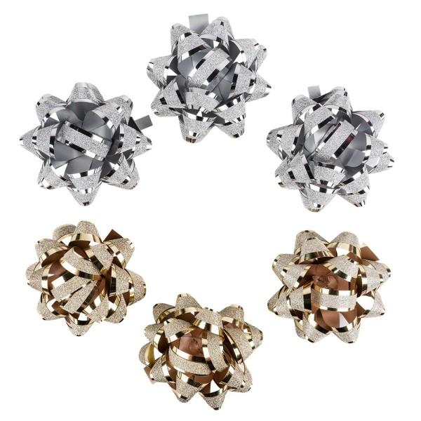 Geschenkschleifen, diamantiert, Ø 6,5 cm, selbstklebend, metallic-silber & -gold, 6 Stück