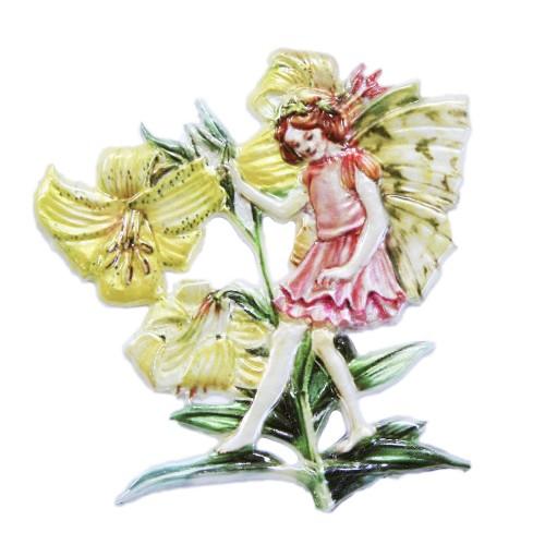 Wachsornament Elfe 2, farbig, geprägt, 7 x 7 cm