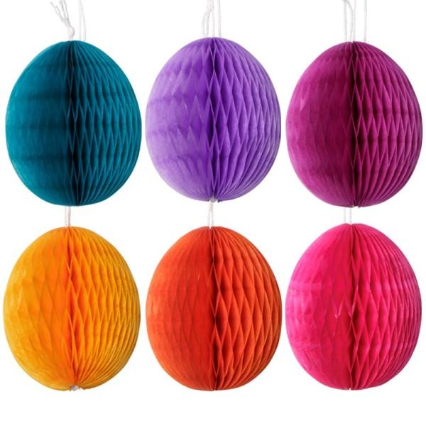 Waben-Eier, 5 cm x 6 cm, 6 Farben, 12 Stück