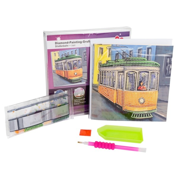 Diamond-Painting-Grußkarte, Straßenbahn, 16cm x 16cm, 370g/m², inkl. Umschlag & Werkzeug