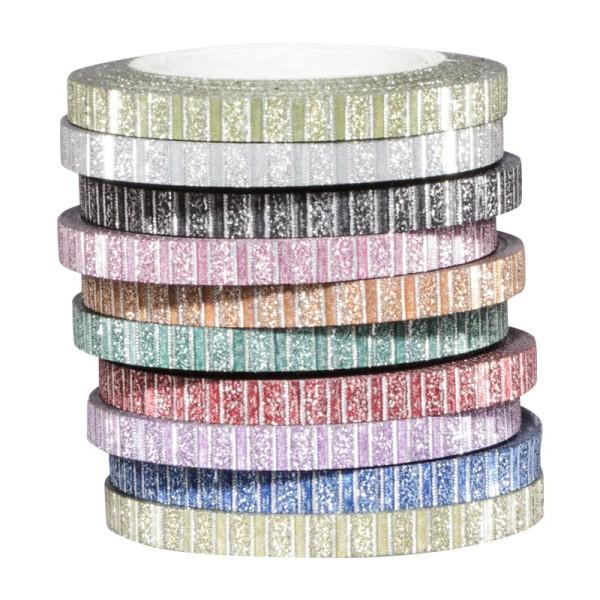 Deko-Klebeband, Diamantfolie, Streifen, 4mm x 5m, 10 Rollen