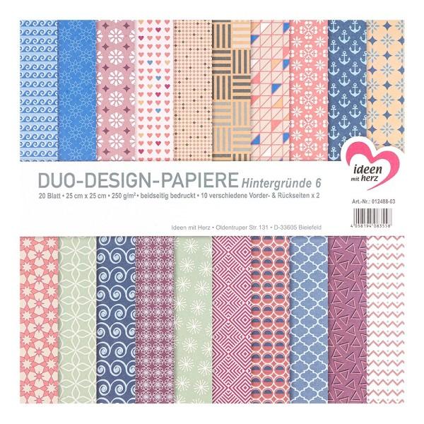 Duo-Design-Papiere, Hintergründe 6, beidseitig bedruckt, 25cm x 25cm, 250g/m², 20 Blatt
