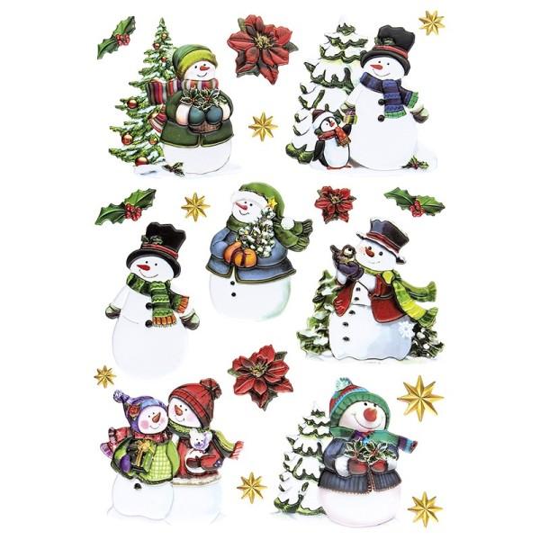 3-D Relief-Sticker, Schneemänner, verschiedene Größen, selbstklebend