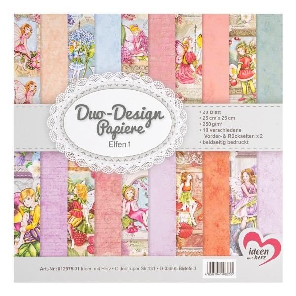 Duo-Design-Papiere, Elfen 1, beidseitig bedruckt, 25cm x 25cm, 250g/m², 20 Blatt