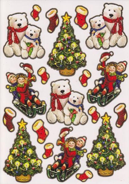 Ultra Gloss Sticker, DIN A4 Bogen, Eisbären, Kinder & Weihnachtsbaum