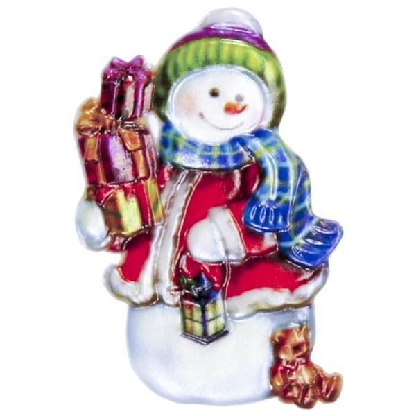 Wachsornament Schneemann mit Geschenken