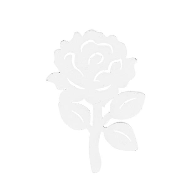 Rosenzweige, Holz, 8,5,cm x 5,8cm x 0,5cm, weiß, 16 Stück