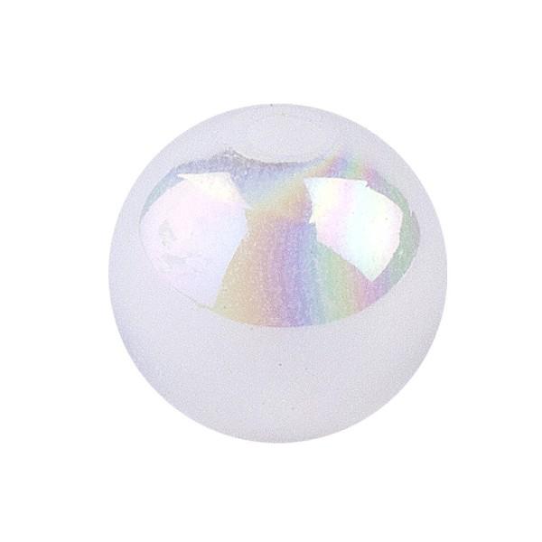 Perlen, irisierend, Ø 10mm, weiß-irisierend, 50 Stk.