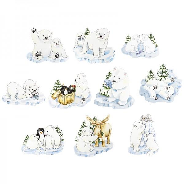 3-D Motive, Drollige Eisbären, 6-9cm, 10 Motive