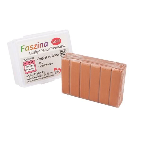 Faszina Soft, Design-Modelliermasse, kupfer mit Glitzer, 55g, leicht formbar, ofenhärtend