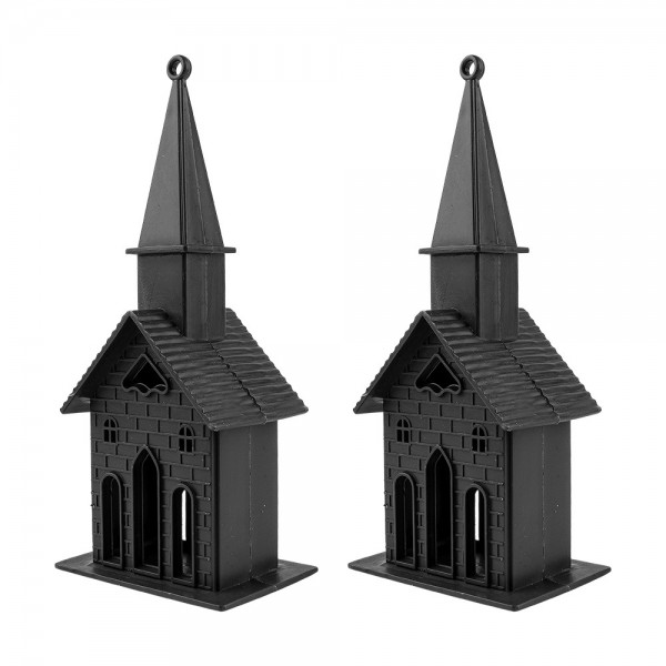 Deko-Kirchen, Rohlinge, 16cm x 6,5cm x 5cm, mit Öse zum Aufhängen, 2 Stück
