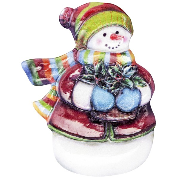 Wachsornament Fröhl. Schneemänner 4, farbig, geprägt, 6-8cm