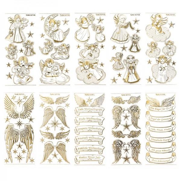 Gravur-Sticker, Engel & Engelsflügel, transparent/gold, 10 Bogen
