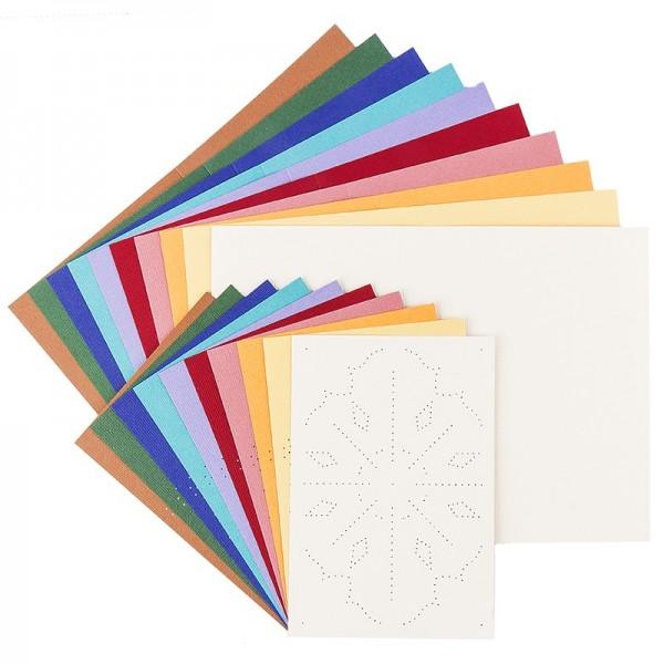 """Fadengrafik-Grußkarten """"Stern 2"""", Leinen-Optik, B6, 10 Farben, inkl. Umschläge, 10 Stück"""