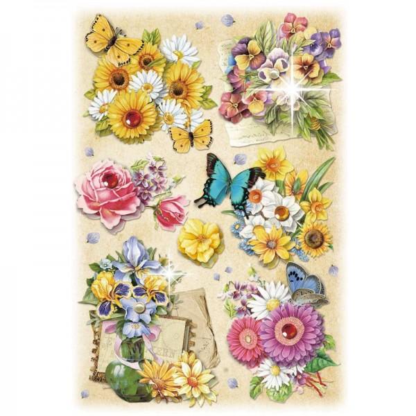3-D Stickerbogen, Gartenblumen 4, 12,7 x 18,8 cm