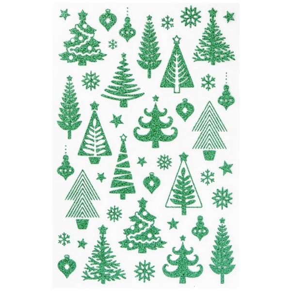 Glimmer-Relief-Sticker, Tannen, grün, 14 x 21 cm