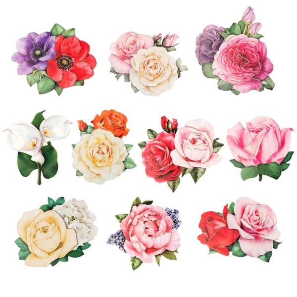 3-D Motive, Romantik-Blumen, 7-9 cm, 10 Motive