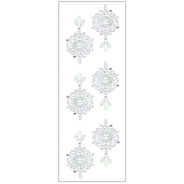 Kristallkunst, Ornament 2, selbstklebend, 10cm x 30cm, klar irisierend, hellgrün
